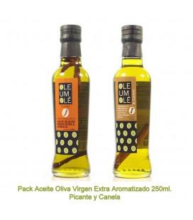 PACK ACEITE OLIVA VIRGEN EXTRA AROMATIZADO ORÉGANO Y AJO 250ML.